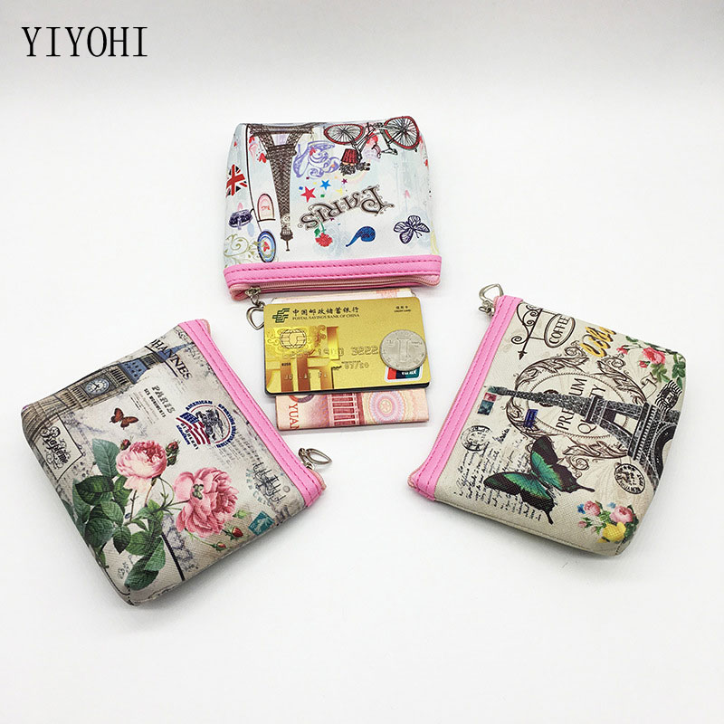 Women Cartoon Eiffel Tower Print Coin Bag Heart Zipper Shell Shiny Purses Girls PU Leather Zero Wallet Phone Change 11.5*10cm