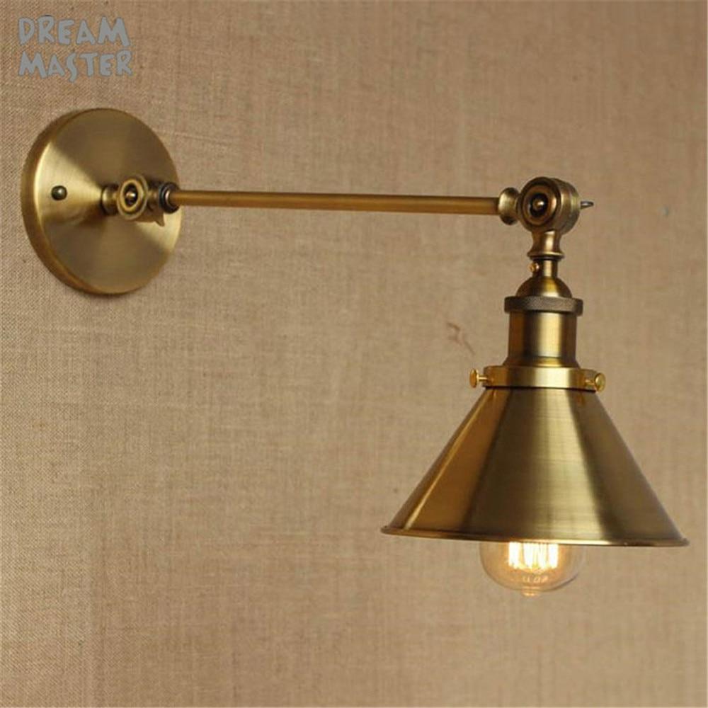 Retro Industrial Golden Adjustable Swing Arm Wall lamp lighting up down light outdoor wall light lampara de pared led habitacion