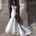 2017 Sexy Lace Appliques Mermaid Satin Wedding Dress Cap Sleeves Robe De Mariage Vestido De Novia Bridal Gown 2017 Wedding Dress