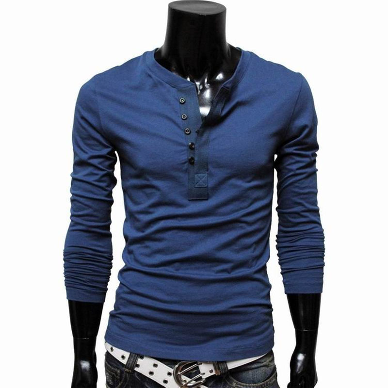 Henley shirt men brand long sleeve tshirt spring tops for Long sleeve fitted tee shirt
