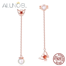 ALLNOEL  925 Sterling Silver Drop Earrings For Women 100% Natural Gemstone Garnet Pearl Asymmetric Butterfly Earrings Jewelries
