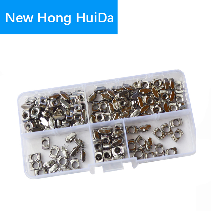 2020 series Slot T-nut Sliding T Nut Hammer Drop In Fasten Connector Aluminum Extrusion Profile Groove Assortment Kit M3 M4 M5