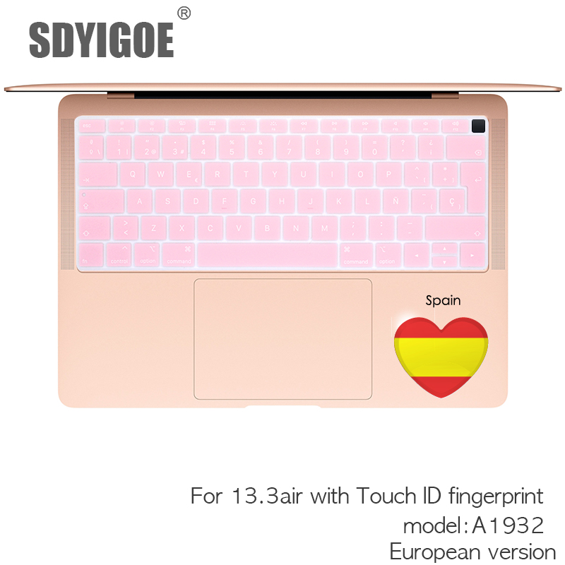 Spanish Laptop Keyboard Cover for MacBook Air 13 A1932 EU Keyboard Cover Protective Film Display Spain Language,Yellow