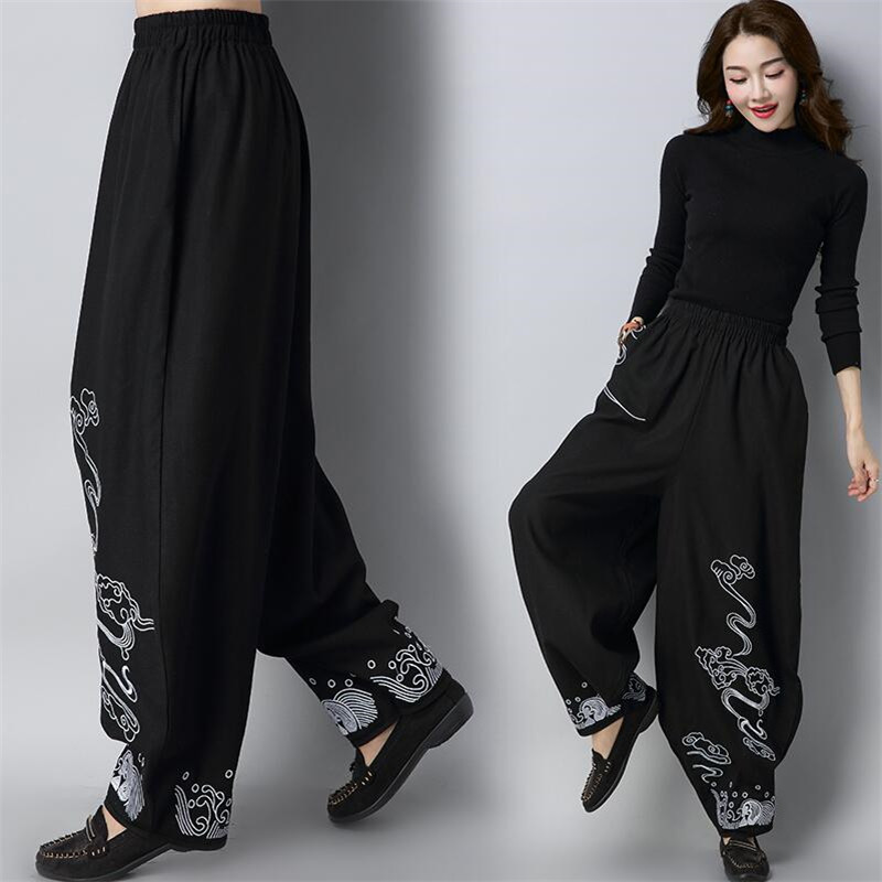 National Style 2018 Woman Cotton Linen Loose Trousers Elastic Waist Vintage Casual Embroidery Wide Leg Pants Bloomers Black