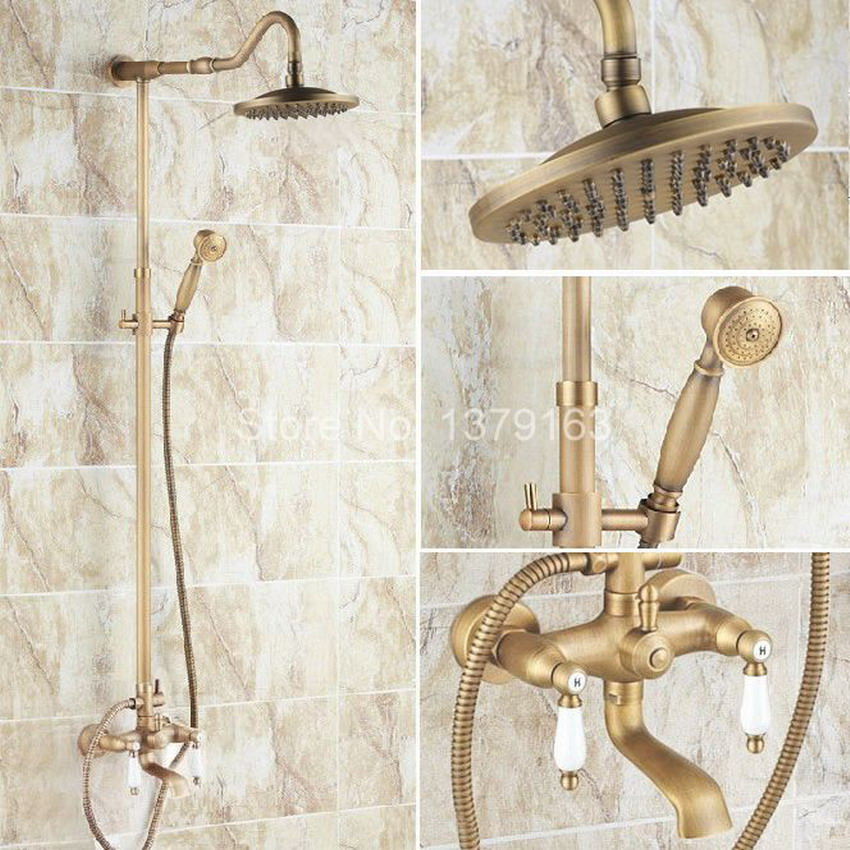 Antique Brass Two Ceramic Handle Bathroom Rain Shower Faucet Set Tub Mixer Tap + 8 Round Rain Shower Head + Handshower ars117 qmn women crystal embellished natural suede brogue shoes women square toe platform oxfords shoes woman genuine leather flats