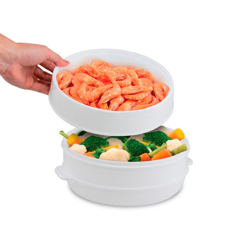 2 Tier Microwave Food Steamer BPA Free Cookware Steam Cooking Veggies Fish Seafood Double Layer Plastic Steamer As Seen On HK076