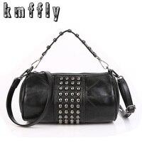 Women Genuine Leather Bag Rivet Real Sheepskin Messenger Bags Handbags Women Famous Brands Designer Female Handbag