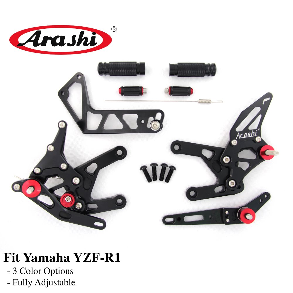 Arashi 1 Set For YAMAHA YZF R1 2015 2016 2017 2018 CNC Adjustable Footrest Foot Pegs Rider Rear Sets Rearset R1M R1S RN32 цена