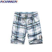 NORMEN Men #8217 s Fashion Plaid Board Shorts Polyester Plus Size Casual Swimwear Streetwear Vacation Short Pants Quality Swimsuit Men cheap 1617