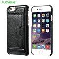 Floveme para iphone 6 6 s plus case de couro titular do cartão de crédito suporte do telefone casos para iphone 6 case retro moda volta coque Funda