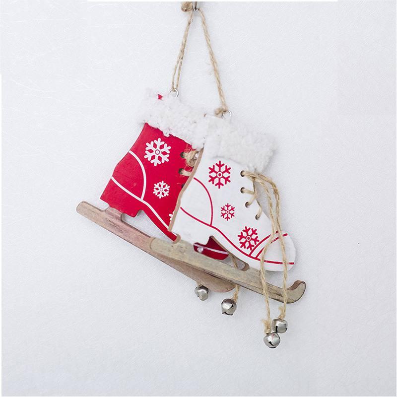 Diamond Christmas Painted Decorative Pendant Christmas Tree Innovative Skates Ski Shoes Pendant Christmas Home Door And Tree Decorations