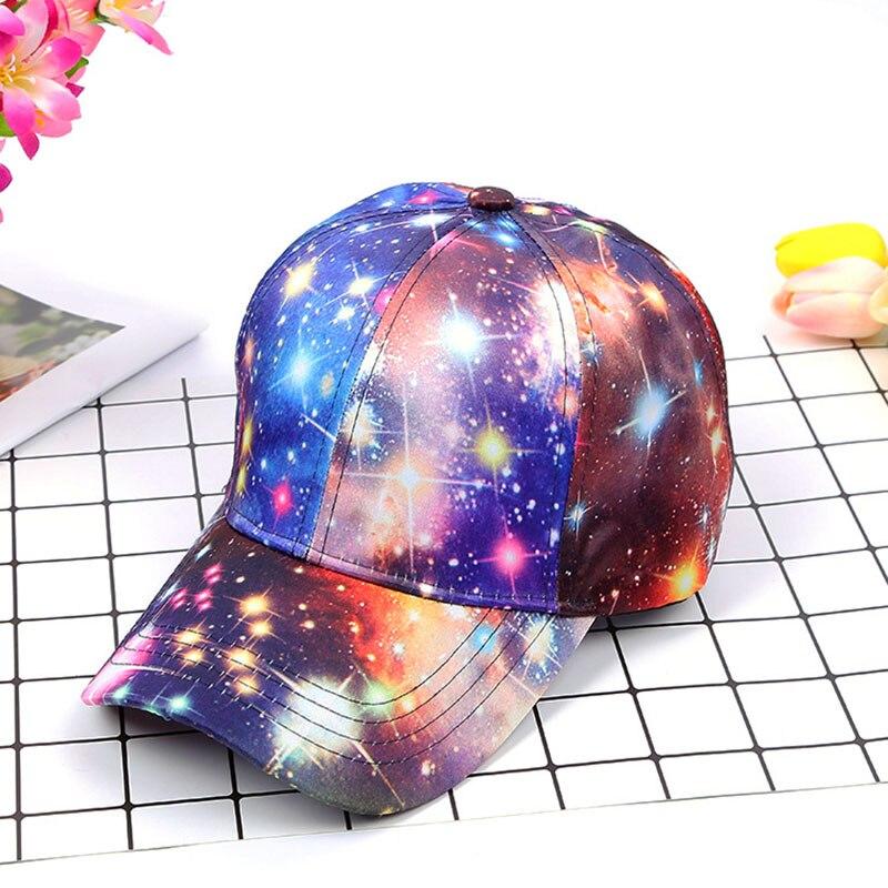 2018 Neue Frauen Starry Sky Printing Polyester Baseballmütze Sommer Sonnenhut Hysterese Hip Hop Caps Kühle Sterne Partei Tanz Hüte Zahlreich In Vielfalt