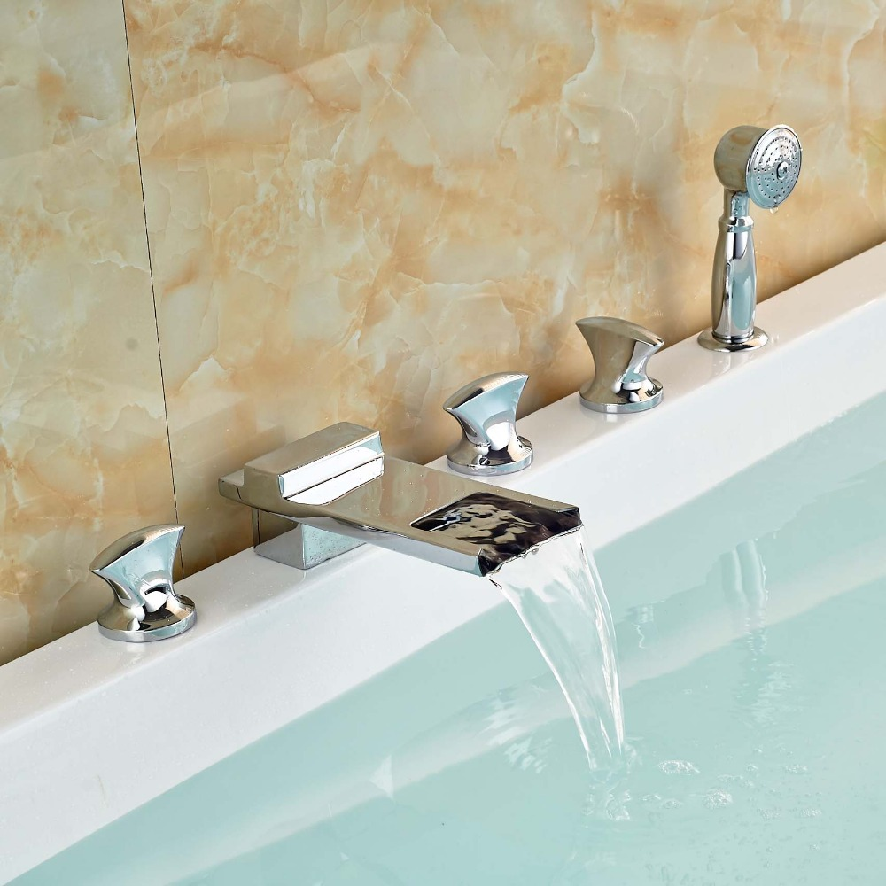̀ •́ Chrome Widespread Bathroom Bathtub Waterfall Faucet Mixer Hand ...