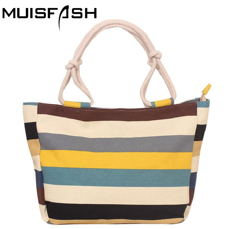 2017 Summer Canvas Women Bag Handbags Fashion Flower Printing Stripes Large Capacity Beach Bags Shoulder Bag Good Quality LS1087 beach straw bags women appliques beach bag snakeskin handbags summer 2017 vintage python pattern crossbody bag