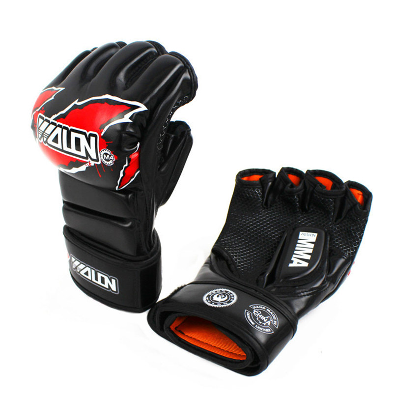 MMA Boxing Gloves Top Quality PU Leather MMA Half Fighting Boxing Gloves Muay Thai Training Punching