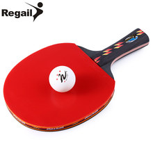 REGAIL D003 1 Set Durable Table Tennis Racket Ping Pong Paddle + Waterproof Pouch Bag + Ping Pang Ball Table Tennis Accessories