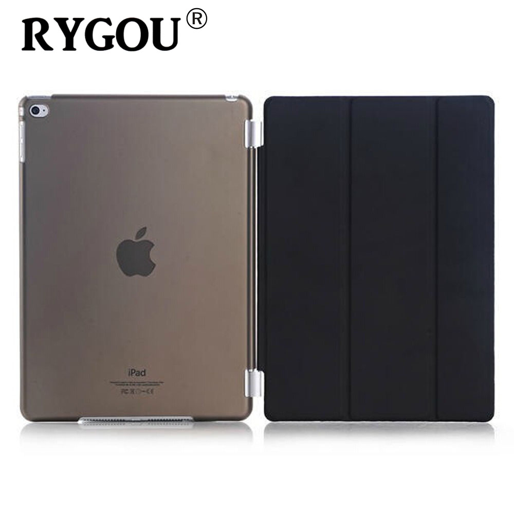RYGOU Smart Cover For Apple ipad air 2 ipad 6 PU Leather Magnetic Front Case+Hard Back Cover for iPad Air 2 Case Tablet C for ipad air 2 air 1 case slim pu leather silicone soft back smart cover sturdy stand auto sleep for apple ipad air 5 6 coque