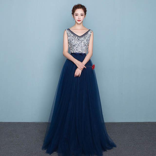 Us 484 45 Offvestidos De Fiesta 2019 Long Evening Dresses Royal Blue Tulle A Line Formal Long Dress O Neck Plus Size In Evening Dresses From