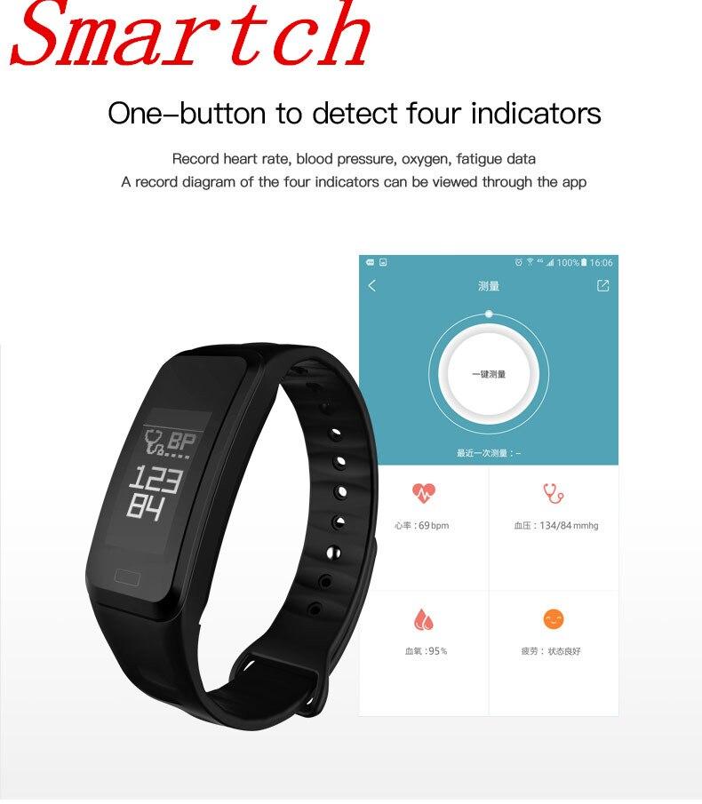 Smartch Smart Bracelet R1 ECG PPG de fréquence Cardiaque mesure de La Pression Artérielle Podomètre Calories Sport Bracelet Pour iOS Android
