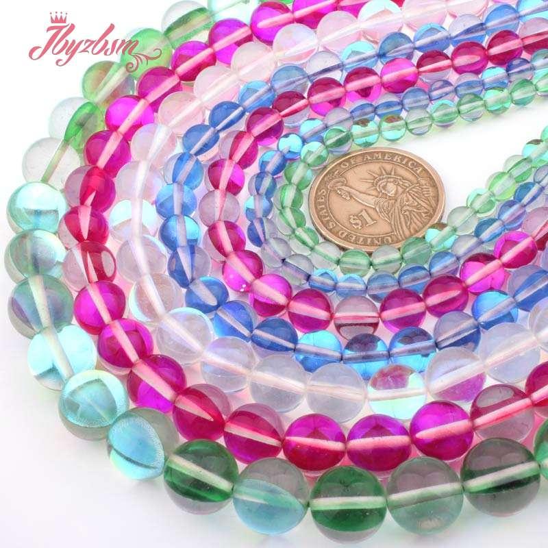 "6-12mm Round Blue Rainbow Austria Crystal Synthesis Glitter Moon Stone Beads 15/"""