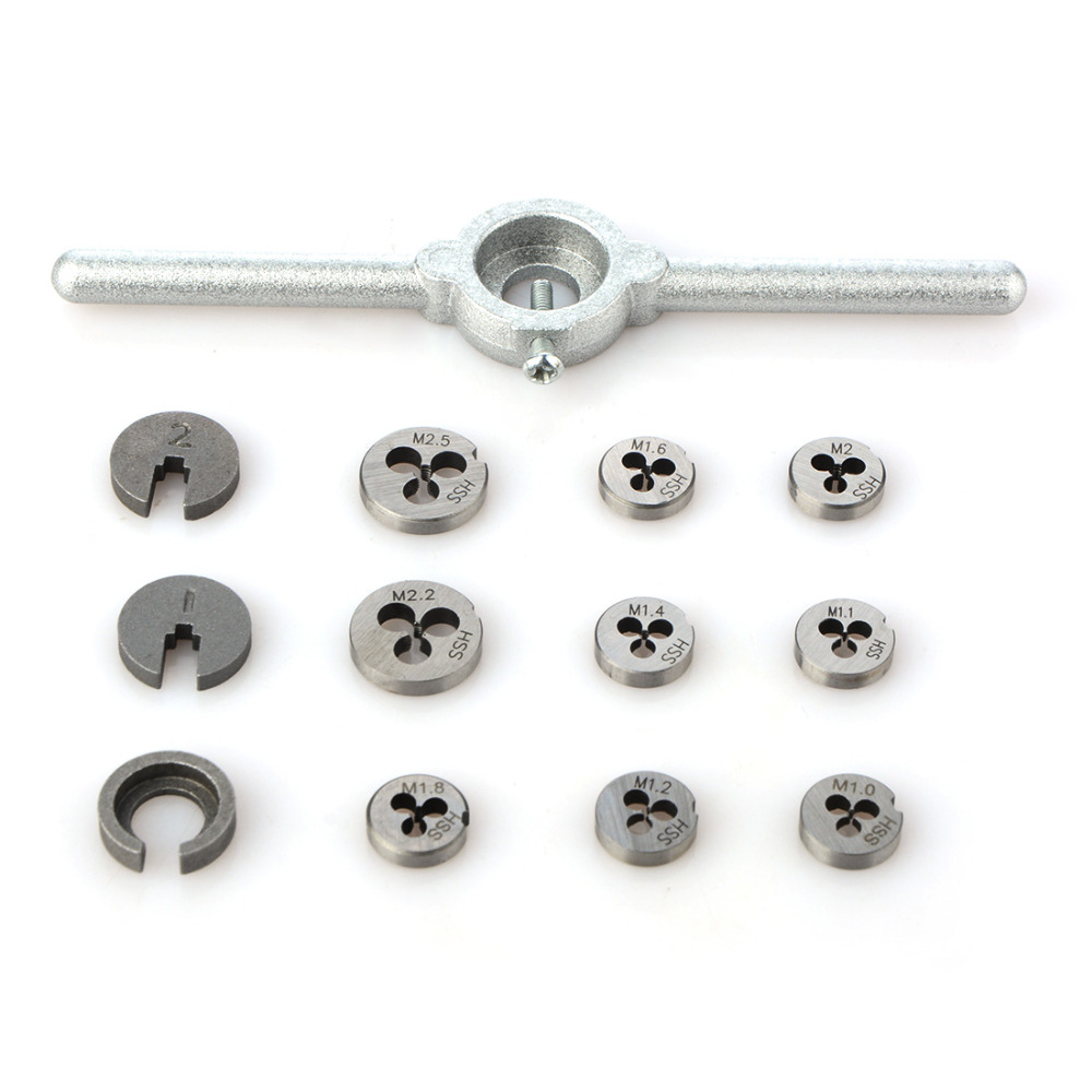31pcs/set Mini HSS Metric Taps Dies Wrench Handle Tap and Die Set DIES M1/M1.1/M1.2/M1.4/M1.6/M1.8/M2/M2.2 /M2.5 Screw set of taps and dies matrix 77339