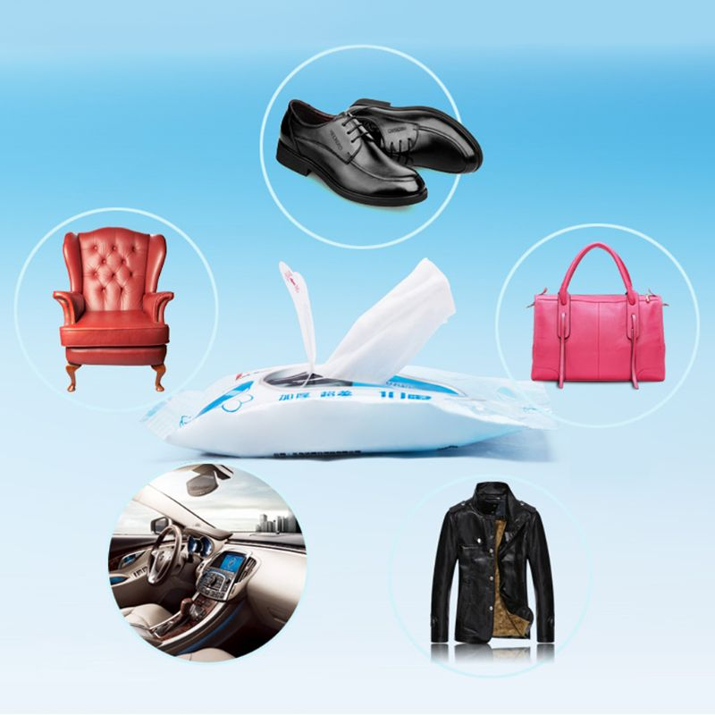 1Bag(10pcs) Disposable Wet Wipes Leather Shoes Sandals Cleaning Tissue Portable