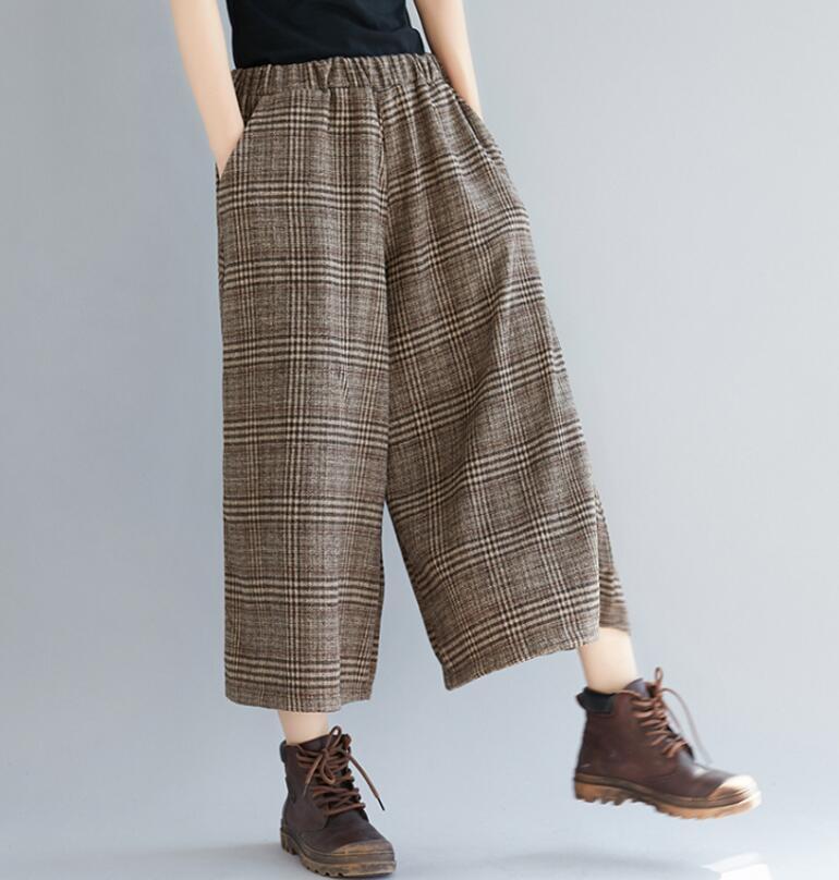 Plus Size Women Wide Leg Pants Autumn Harem Pants Plaid Casual Vintage Korean 2018 Oversize New Elastic Waist Woolen Pants 1