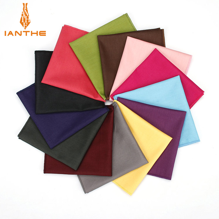 Vintage New Men's Fashion Cotton Solid Candy Color Pocket Square For Men Handkerchief Wedding Classic Hanky Suits Pocket Hankies