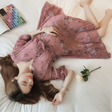 v-neck Printed chiffon Maternity Dress