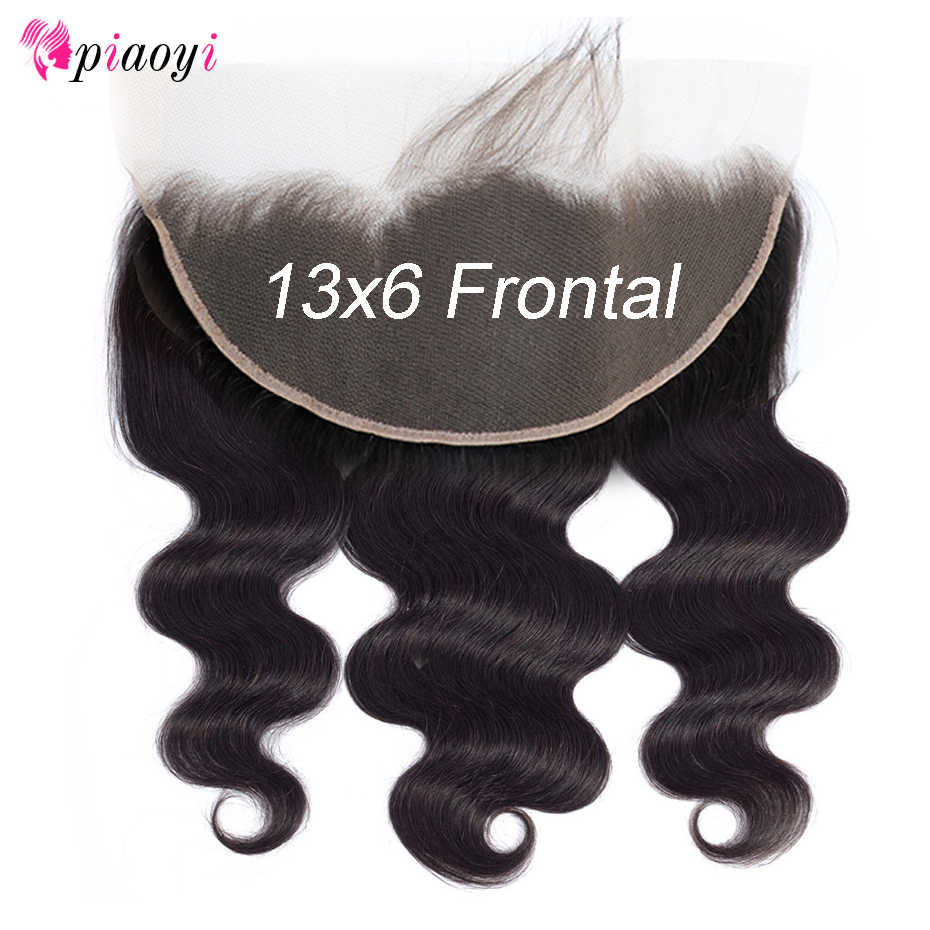 Piaoyi Brazilian 13X6 Body wWave Ear to Ear Lace Frontal Closure Free Part With Baby Hair Pre Plucked Human Hair Remy Hair