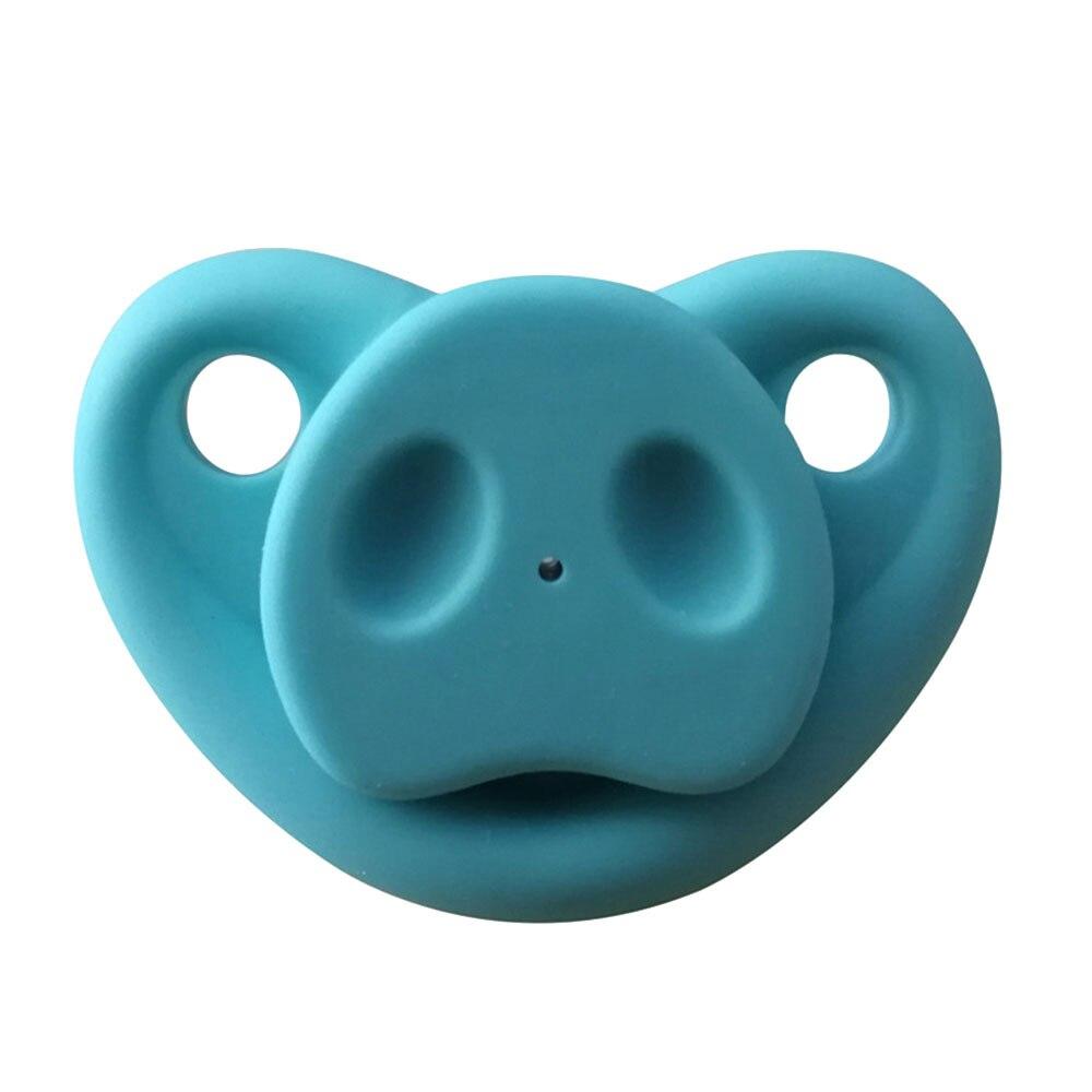Младенческая Соска-пустышка креативный Мягкий Силиконовый грызунок Свинья Нос подарки шутка малыш - Цвет: blue