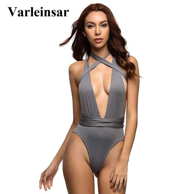 b24b18668ff33b Sexy Deep V Neck Wrap Around High Waist One Piece Swimsuit Women Swimwear  Female Bather 2019 Bathing Suit Swim Monokini V307B