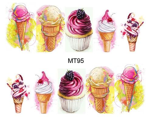 купить 1 Sheet Nail MT95 Beauty Ice Cream Full Cover Nail Art Water Transfer Sticker Decal For Nail Tattoo Tips Nail Tools по цене 28.2 рублей