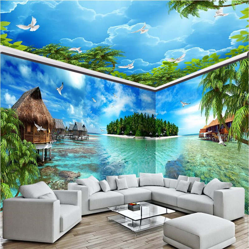 Beibehang Custom Photo Wallpaper Mural Wall Sticker Maldives Sea View  Island Full House Background Wall Papel