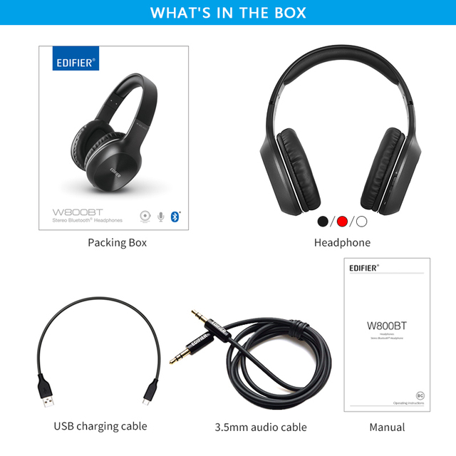 Edifier w800bt wireless headphone bluetooth 4.0 and wired feature up to 35hrs of in-use battery 40mm drivers bluetooth earphone