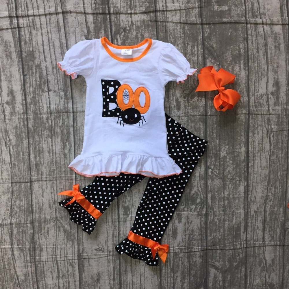 Fall Halloween baby girls BOO spider outfits boutique clothes kids cotton white short top polka dot pants matching accessories polka dot wrap cami top