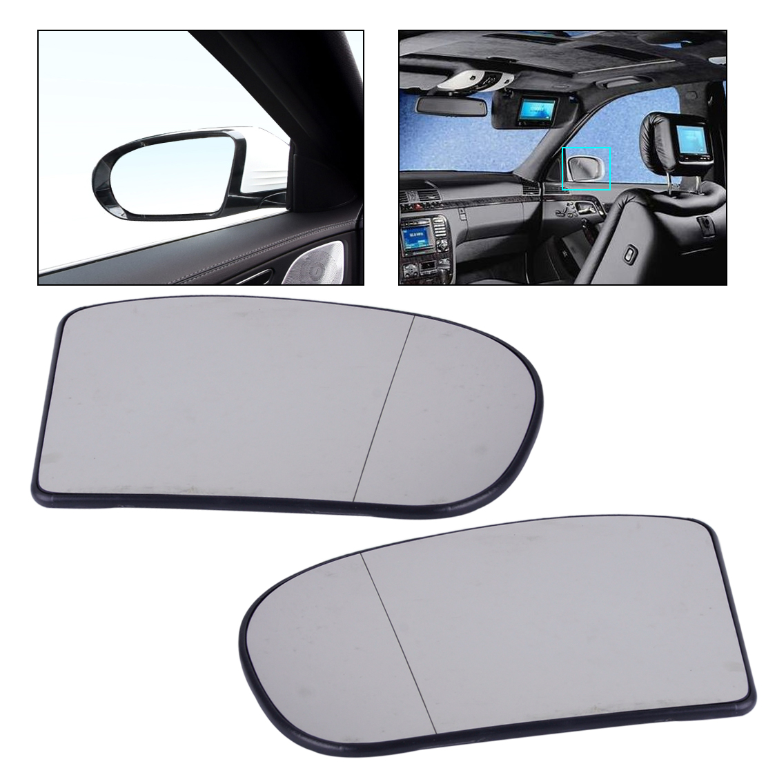 CITALL 2038100121 2038100221 Left + Right Heated Wide Angle Door Mirror Glass Fit For Mercedes E C Class W211 W203 E55 C240 C280