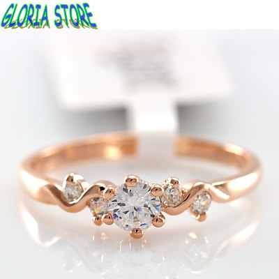 Simple and elegant CZ Zircon Engagement Ring18K rose gold plated