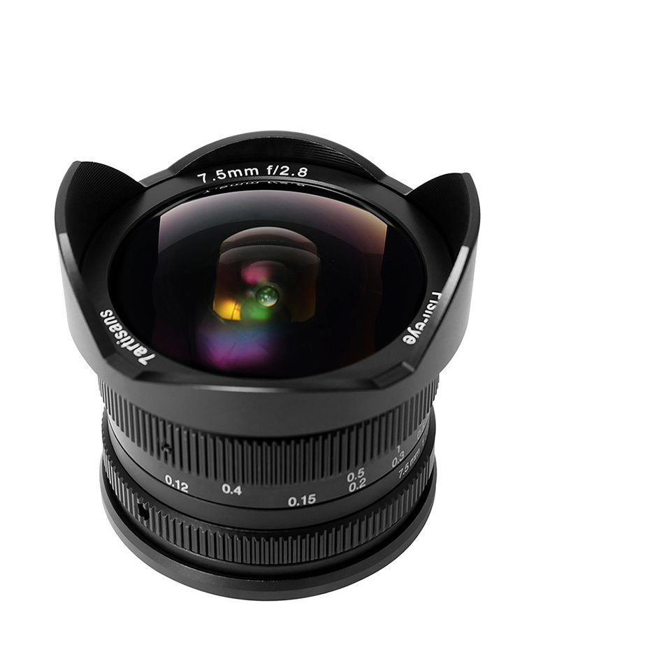 цена 7artisans 7.5mm f2.8 Fisheye Lens APS-C Manual Fixed Lens For Sony E Mount A1 A7ii a6500 A6300 A6000 A5100