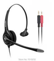 Dual 3.5mm plug or RJ9 plug or 2.5mm plug call center headset,computer laptop notebook headset with QD (Quick Disconnect) cord