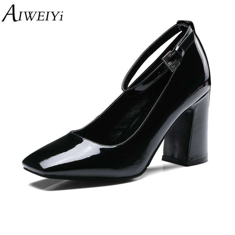 Zapatos Dedo Patente Cuadrado Señoras Altos Cuero Aiweiyi De Mujeres Del Auténtico  Correa negro Pie Hebilla Cuadrados Boda Bombas Pink Tacones Moda BwOTIW 579836d46507