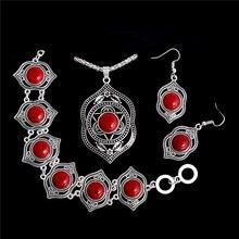 Высокое качество shuangr кулон из натурального камня+ браслет+ серьги Ювелирные наборы Тибетский серебристый цвет мода набор украшений для женщин