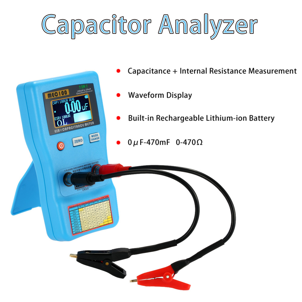 2 in 1 Digital Auto-ranging Capacitor ESR Meter Quality Capacitance Tester Internal Resistance Measurement with SMD Test Clips