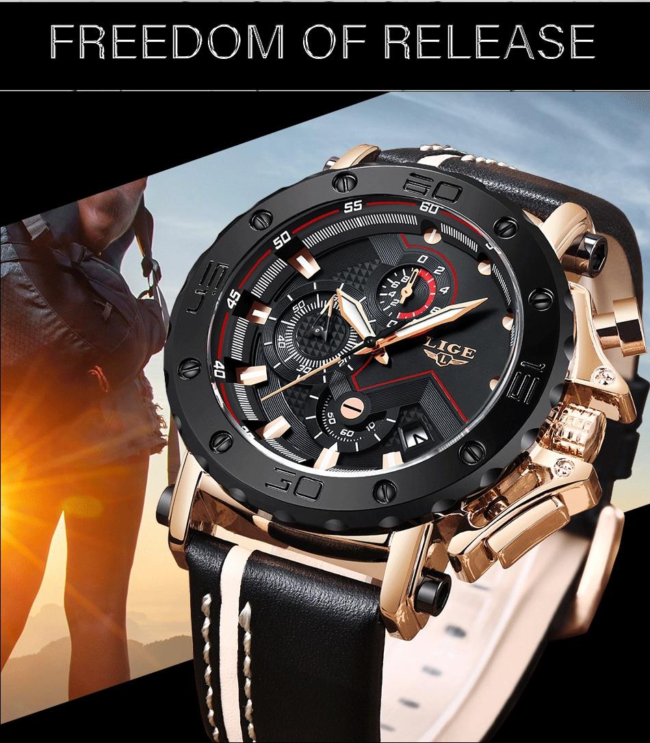HTB16ApsaovrK1RjSspcq6zzSXXaO 2020LIGE New Fashion Mens Watches Brand Luxury Big Dial Military Quartz Watch Leather Waterproof Sport Chronograph Watch Men