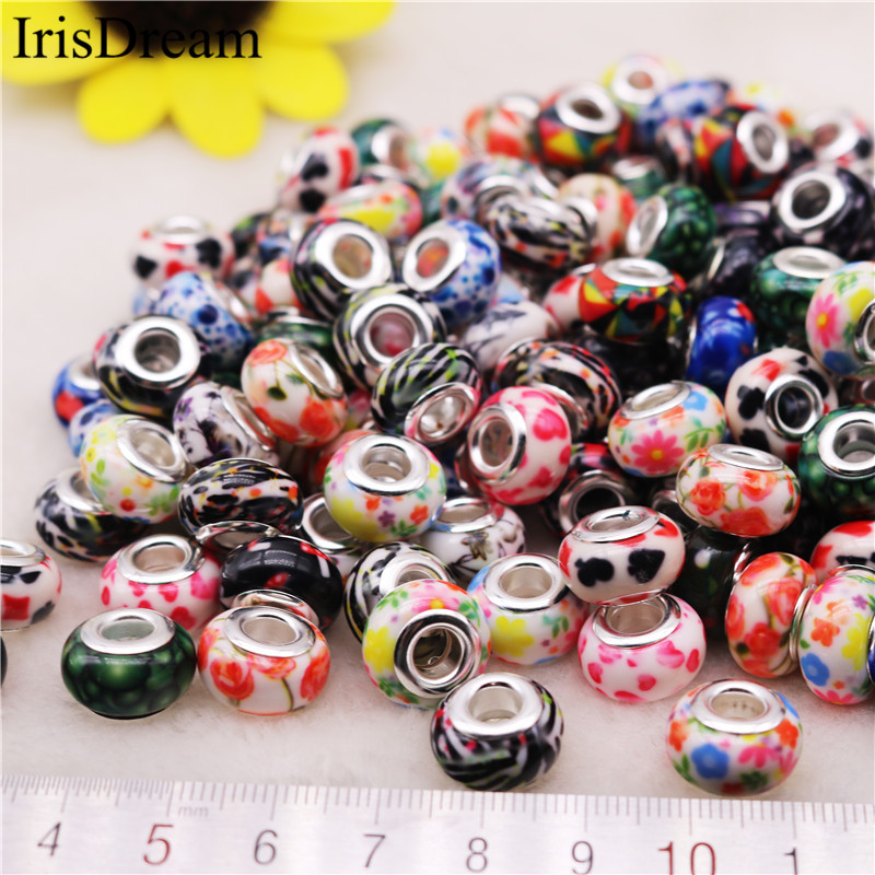 50 Pcs Lot 15 MM Silver Plated Spacer Beads Resin Murano Glass beads Fit European Pandora Charms For DIY Bracelet Jewelry Making