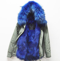 New Fashion Warm Women Winter Outerwear Blue Ladies Real Fox Fur Parka Hooded Jacket Coat