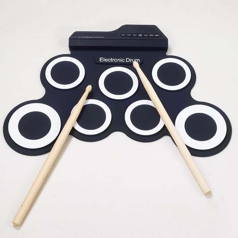 Professional 7 Pads USB Portable Silicone Roll Up Foldable Electronic Drum