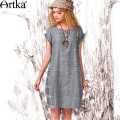 Artka Women's Summer New Vintage Plaid O-neck Short Sleeve Patchwork Loose Style Cotton Comfy Dress L114255X