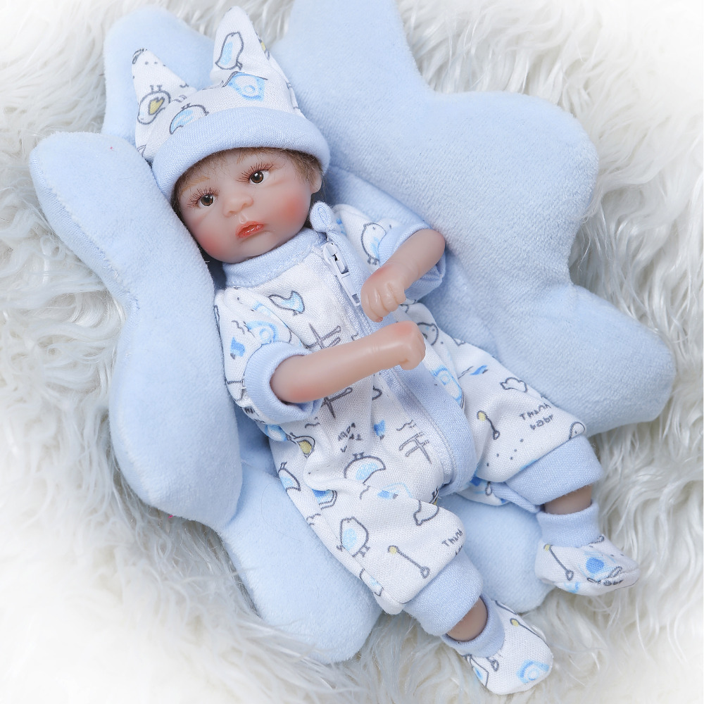 Nicery 8inch 20cm Bebe Reborn Mini Doll Soft Silicone Lifelike Toy Gift For Child Christmas Cute Boy Blue Pillow