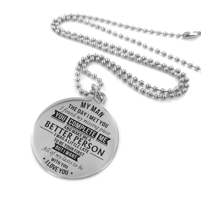 Para mi novio-te encuentro más pronto y te quiero grabado más largo collar de acero inoxidable Collar personalizado collares personalizados ¡!